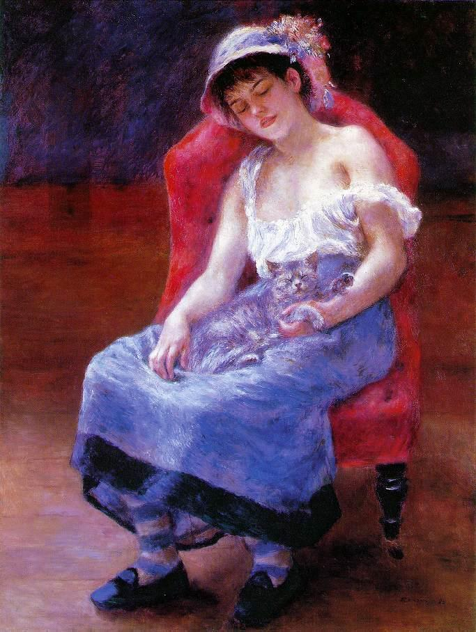 Pierre Auguste Renoir  Sleeping Girl with a Cat 1880.jpg (683x908, 111Kb)