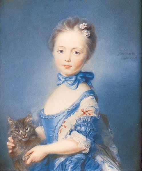 PERRONNEAU  Jean Baptiste A Girl with a Kitten.jpg (497x600, 71Kb)
