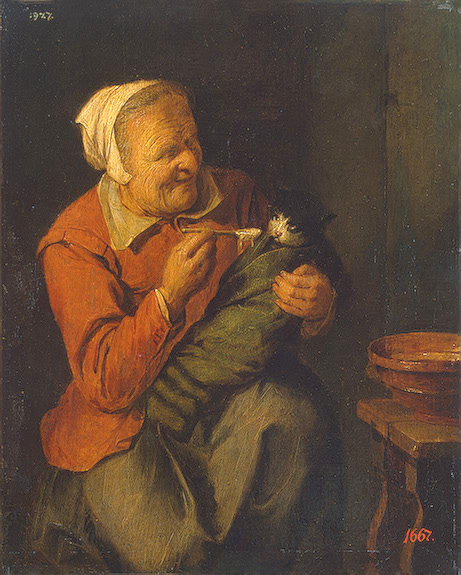 Ryckaert  David    Peasant Woman with a Cat     Early 1640s.jpg (461x575, 144Kb)