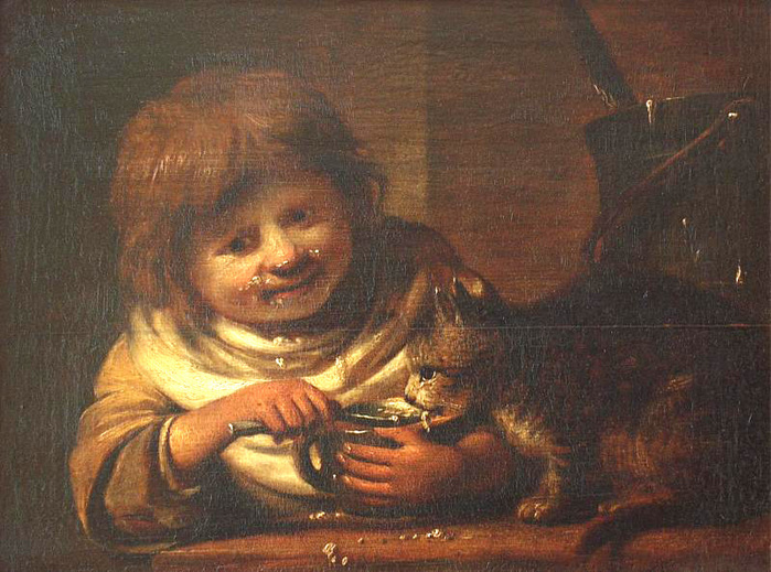 Bisschop Cornelis  Child, feeding a cat 1660s.jpg (699x519, 195Kb)