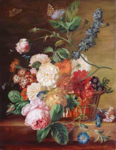 Корзина с цветами и бабочками. Ян Ван Хейсум..jpg (389x500, 42Kb)