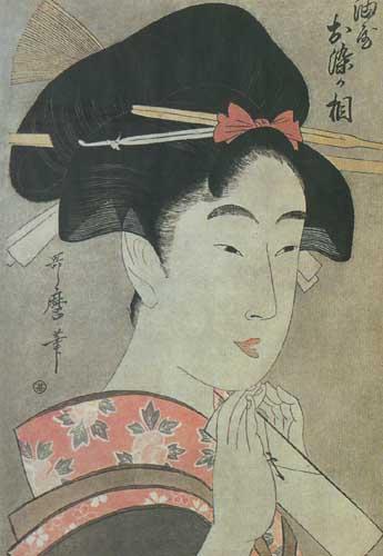 Китагава Утамаро 1753-1806 Красавица Осомэ из дома Абура-я около 1799.jpg (345x500, 34Kb)