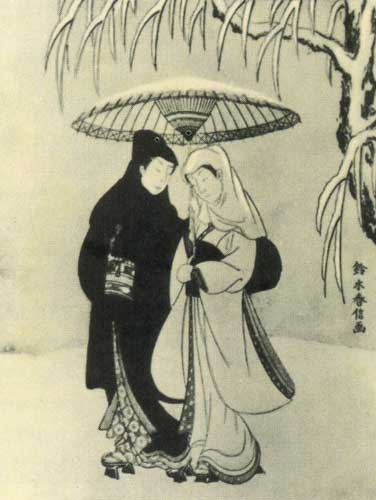 Судзуки Харинобу.Влюбленные в заснеженном саду, конец 1760-х.jpg (376x500, 38Kb)