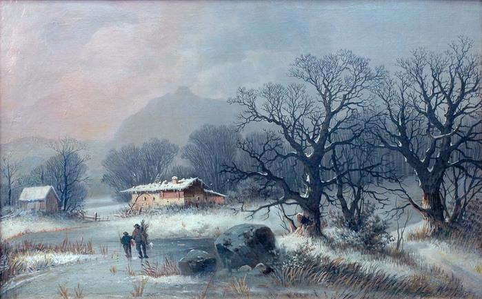 неизв.. зимний пейзаж с путником X1X-XX вв.jpg (699x433, 134Kb)