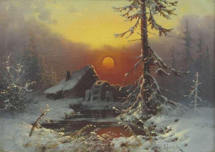 babadin в.Зимний пейзаж с мельницей..jpg (700x496, 34Kb)