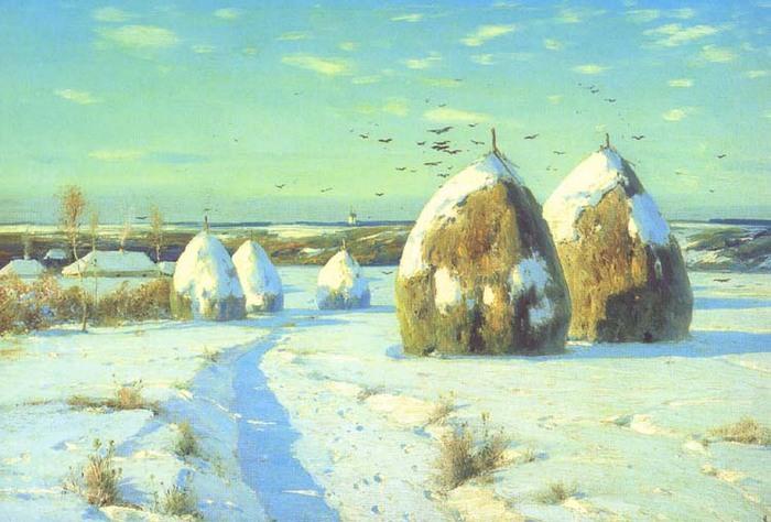 кон.крыжицкий Зимний пейзаж со стогами.jpg (700x474, 98Kb)