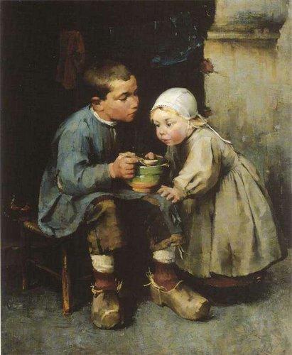 Хелене Шерфбек Мальчик кормящий сестенку 1881.jpg (411x500, 42Kb)