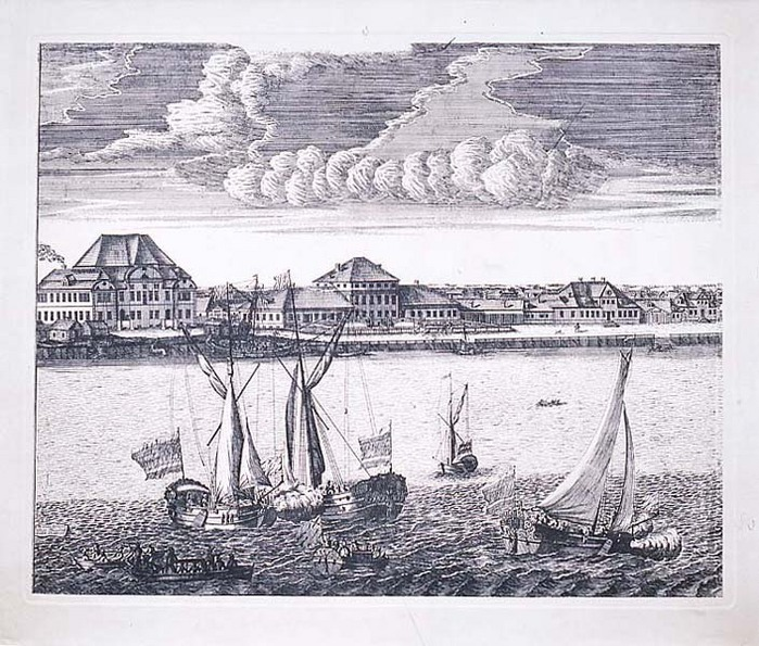 Зимний дворец в Петербурге при Петре I. 1711.  Гравюра на меди .