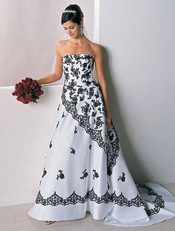 Свадебное платье черно белое фото.