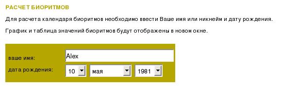 Календарь биоритмов на bio.bip.ru