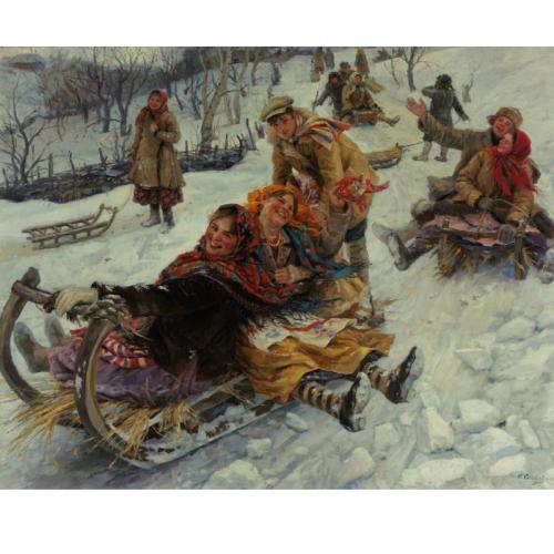 Ф.В. Сычков 1870-1958 Катание на санях. 1935.jpg (500x500, 39Kb)