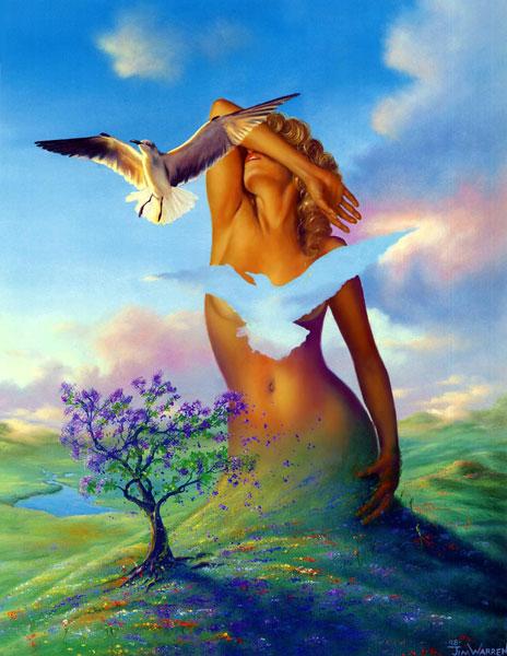 поляна  птица  небо  девушка.jpg (464x600, 75Kb)