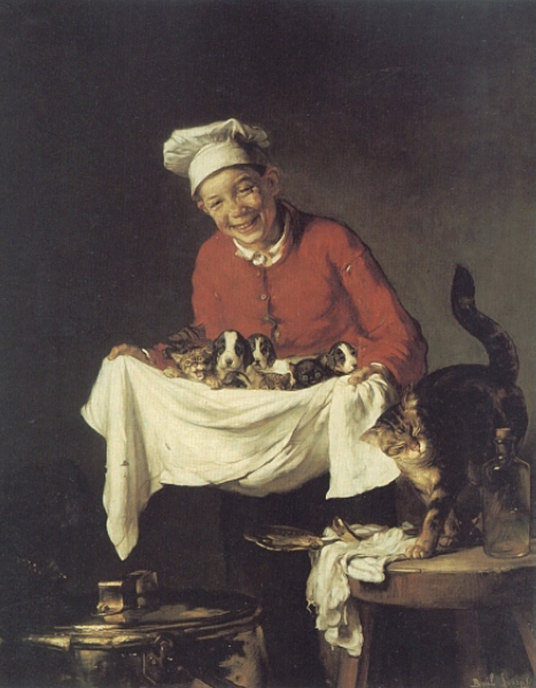 Joseph Bail    A_Boy_with_dogs_and_Kittens!.jpg (600x771, 163Kb)