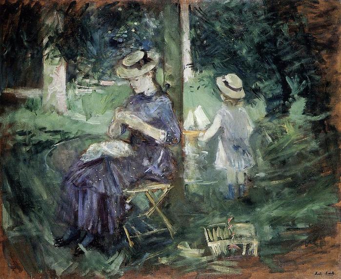 берта моризо 1841ß1895 Девушка шьет в саду 1884.jpg (699x571, 266Kb)
