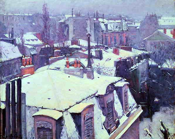 крыши под снегом Гюстав Кайлеботт  1878.jpg (597x476, 32Kb)