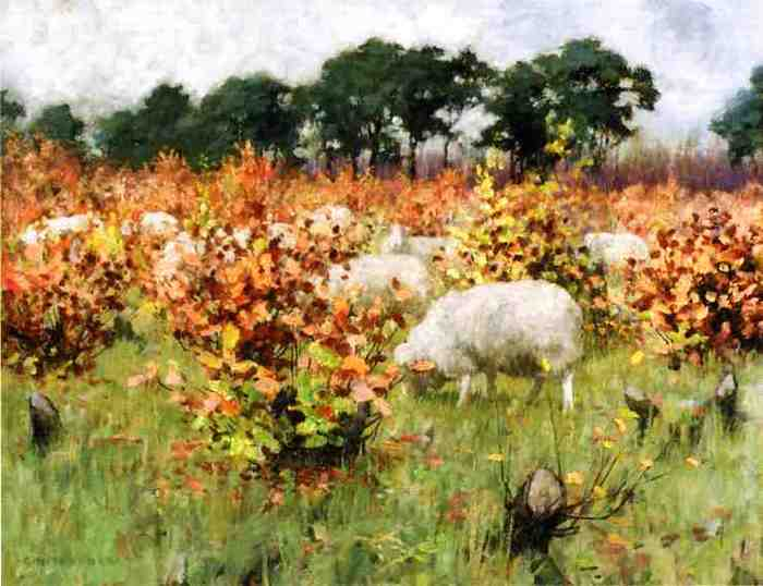 Grazing Sheep - George Hitchcock.jpg (700x538, 35Kb)