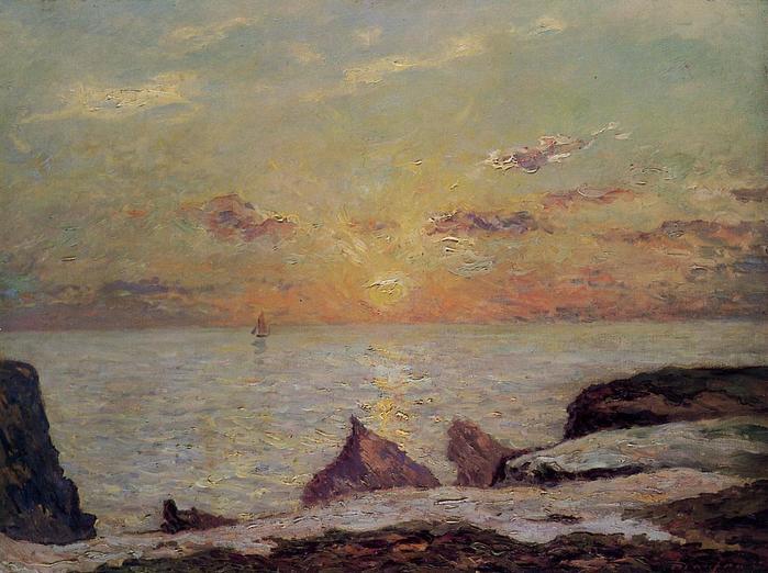 On the Cliffs of Belle Isle on Mer, Sunset  1913.jpg (699x522, 59Kb)