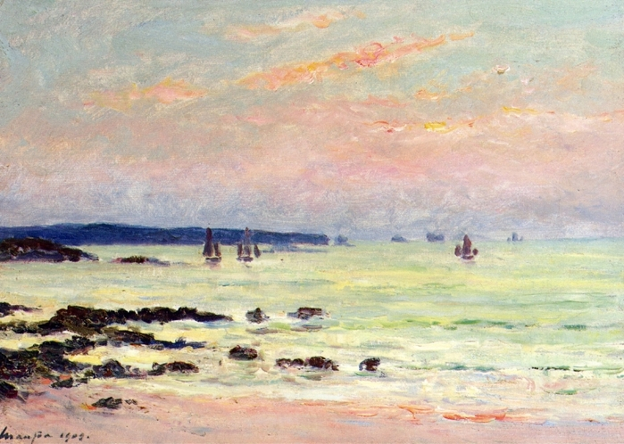 Evening at the Sea, Quiberon - Maxime Maufra - 1909.jpg (699x498, 282Kb)