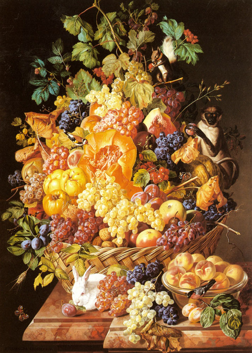 Zinnogger_Leopold 1811-1872 A_Basket_Of_Fruit_With_Animals, 1851.jpg (498x699, 226Kb)