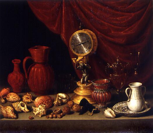 АНТОНИО ДЕ ПЕРЕДА-И-САЛЬГАДО. 1608-1678 Натюрморт с часами 1657.jpg (525x456, 33Kb)