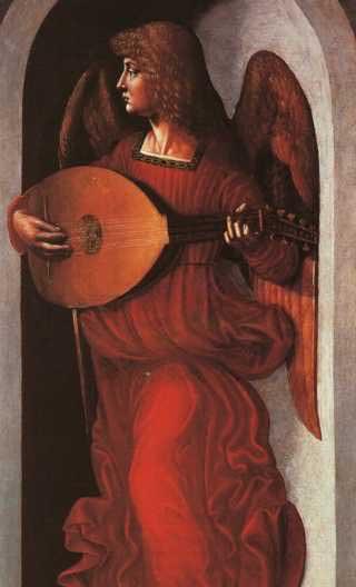 Леонардо да Винчи (1452-1519). Ангел в красном, играющий на лютне. 1490..jpg (320x528, 14Kb)