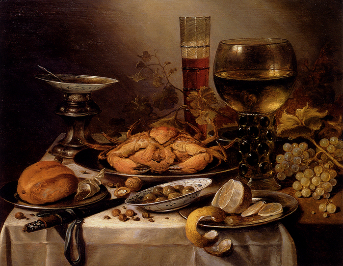 Claesz_Pieter.  1654 .Banquet_Still_Life_With_A_Crab_On_A_Silver_Platter.jpg (699x541, 591Kb)