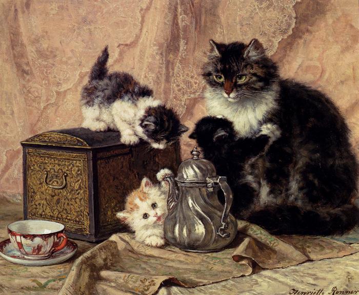 Ronner_Knip_Henriette_Teatime_For_Kittens.jpg (700x575, 268Kb)