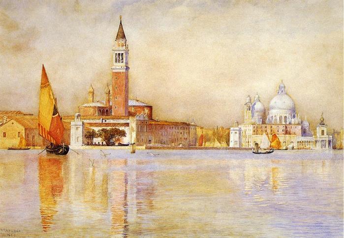 San Giorgio Maggiore and Santa Maria della Salute from the Giardino Publico - (Henry Roderick Newman - 1911.jpg (699x484, 59Kb)