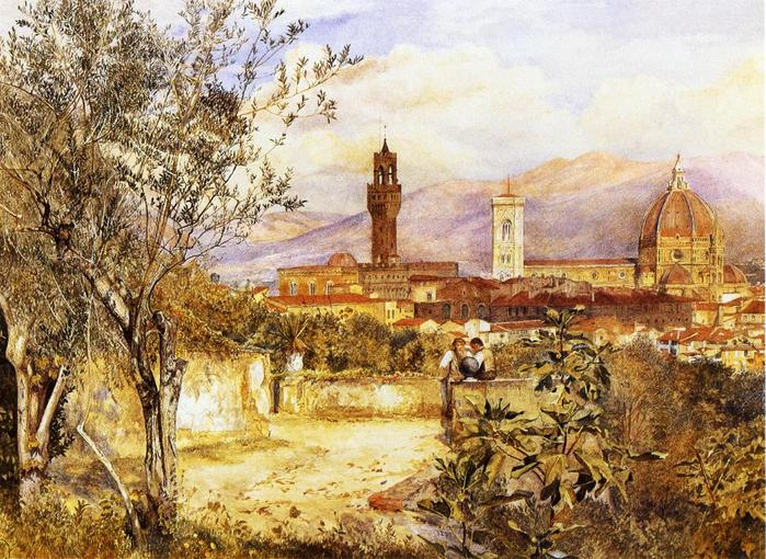View of the Duomo fro the Mozzi Garden, Florence - (Henry Roderick Newman - 1877.jpg (699x510, 104Kb)