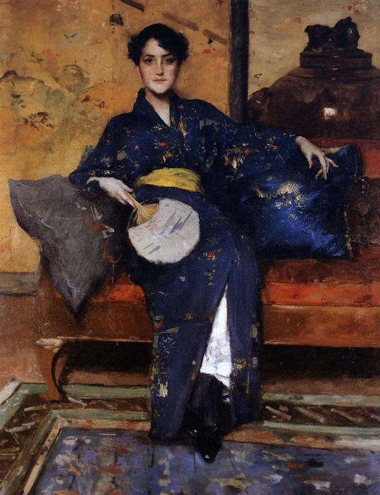 The Blue Kimono aka A Comfortable Corner, At Her East - (William Merritt Chase - circa 1888.jpg (537x699, 64Kb)