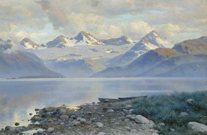 Константин КРЫЖИЦКИЙ (1858 — 1911). Озеро в горах.jpg (700x459, 88Kb)