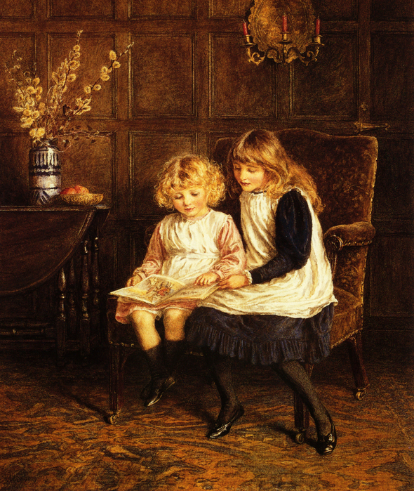 Reading Lesson - (Helen Allingham.jpg (590x699, 634Kb)