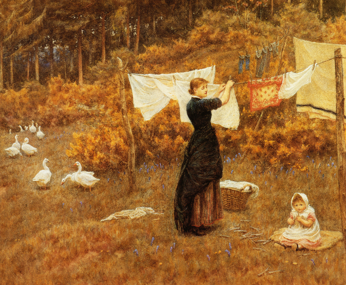 The Clothes Line - (Helen Allingham.jpg (700x575, 633Kb)