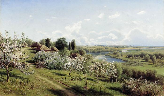 Николай СЕРГЕЕВ (1855-1919). Яблони в цвету. В Малороссии. 1895.jpg (699x409, 135Kb)