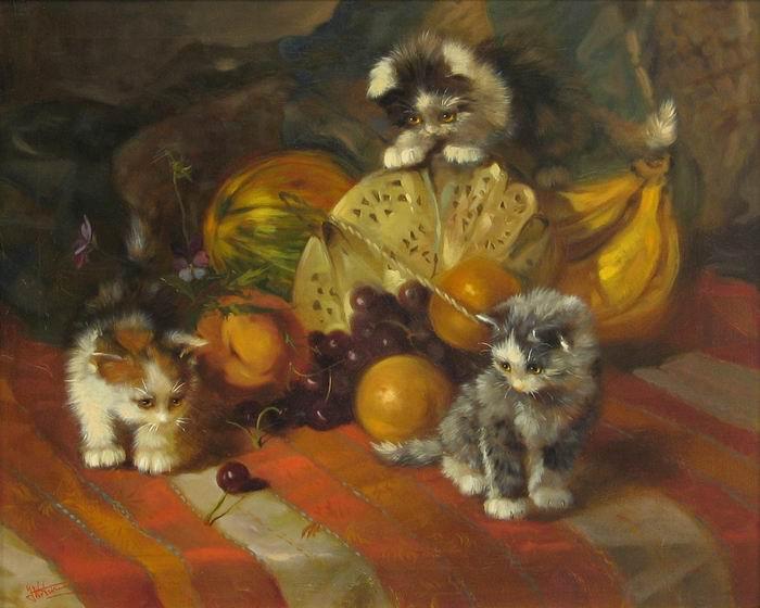 Johannes Wouterus van Trirum (художник-анималист, ок. 1900 г.). Три котенка, играющие с фруктами..jpg (700x560, 59Kb)