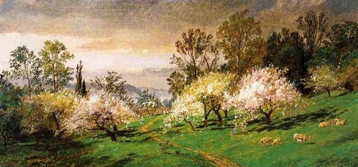 Flowering Trees - (Jasper Francis Cropsey - 1894.jpg (699x326, 218Kb)