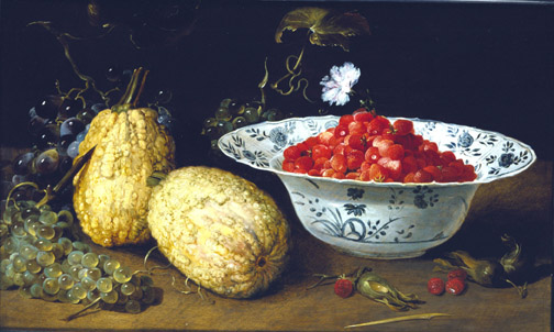 Still Life with a Blue and White Porcelain Bowl of Wild Strawberries, Bunches of Grapes, Two Gourds and Some Cob Nuts on a Table Frans Snyders 1579-1657.jpg (504x302, 62Kb)
