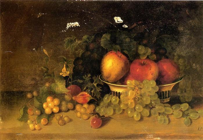 Still Life with Apples, Grapes, Figs and Plums - 1827-1902 Mary Jane Peale - 1887.jpg (699x484, 65Kb)