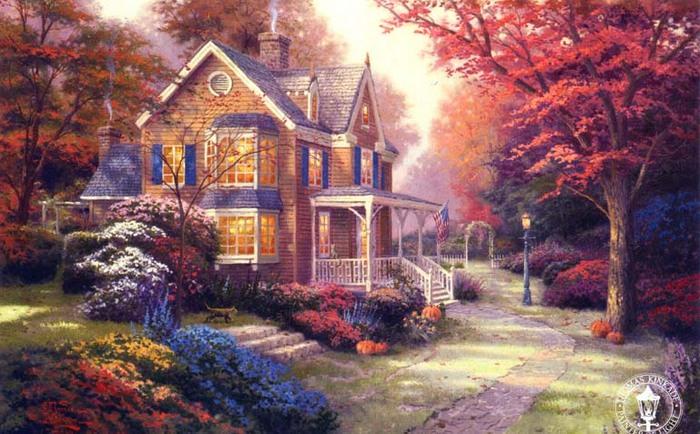 Victorian Autumn Thomas Kinkade.jpg (700x434, 136Kb)