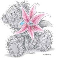 медвежонок с цветком (199x200, 20Kb)
