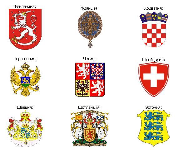 гербы стран европы